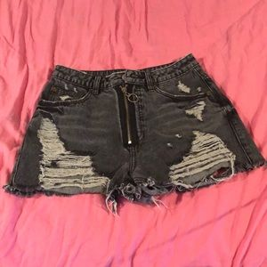 High waisted zip fly black festival jean shorts
